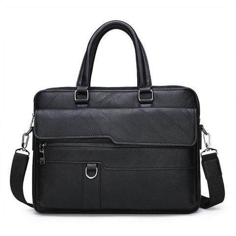 a retro leather briefcase in black