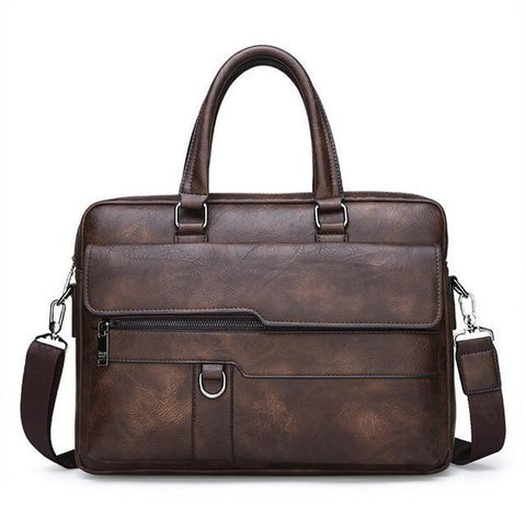 a retro leather briefcase in coffee color