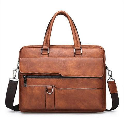 a retro leather briefcase in brown color