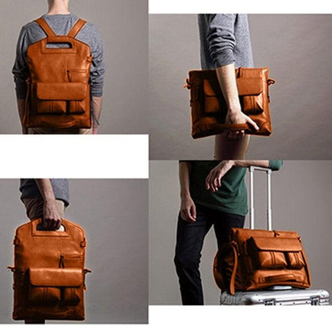 four pictures of a guy carrying a vintage leather backpack