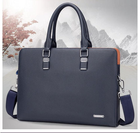 blue navy leather briefcase photo