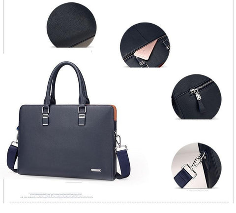 blue navy leather briefcase with small photos with closure materials specifications