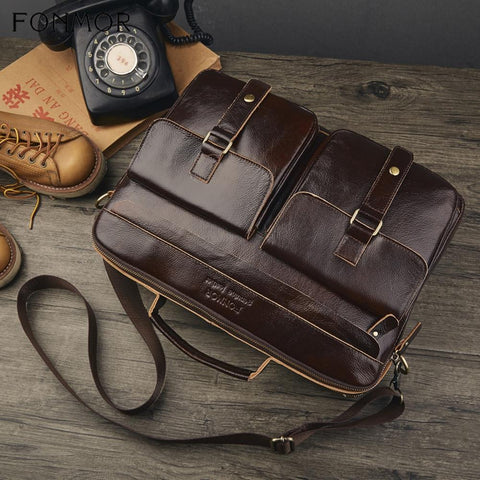 leather briefcase brown with two front pockets