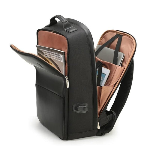 backpack with the main pockets opened