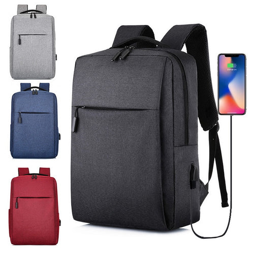 a backpack with a USB connector in four different colors