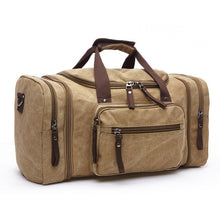 Load image into Gallery viewer, duffle in beige with brown handles