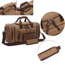 Load image into Gallery viewer, duffle in brown and its closure zips