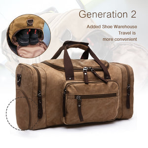 brown duffle bag