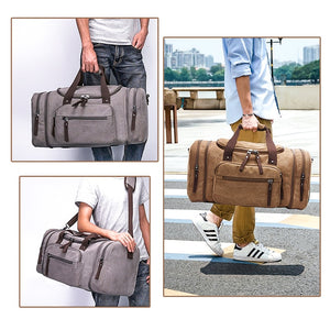 a guy handling a duffle bag  in three different pictures