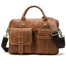 Load image into Gallery viewer, leather briefcase in brown