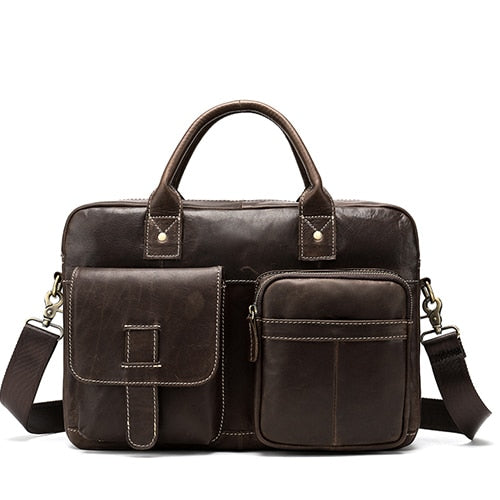 leather briefcase with two big pockets at the front