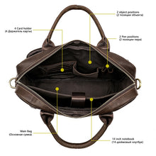Load image into Gallery viewer, photo showing the main compartment of a leather briefcase