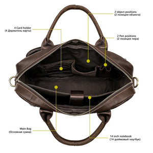 photo showing the main compartment of a leather briefcase