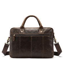 Load image into Gallery viewer, picture showing the backside of a leather briefcase