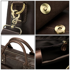 photos showing the closure materials of a leather briefcase