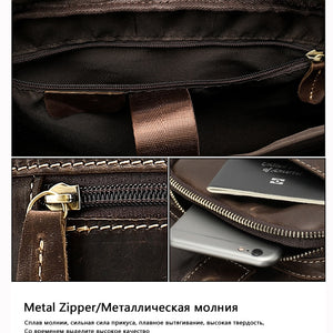 mobile phone pockets of a leather briefcase