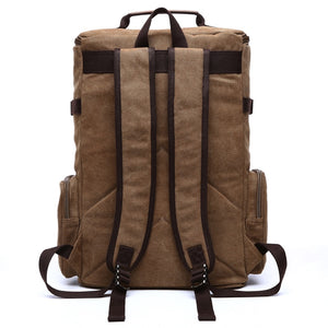 the backside of a large brown backpack