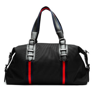 duffle in black with a leather handle