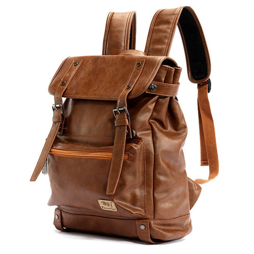 leather backpack with a vintage design in brown