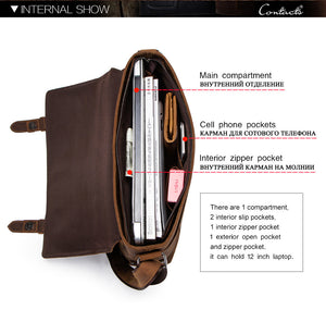 internal capacity of a genuine leather briefcase showed on a picture