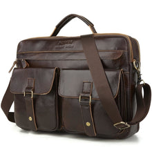 Load image into Gallery viewer, leather briefcase for laptop brown with three main pockets