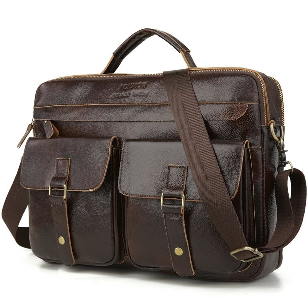 leather briefcase for laptop brown with three main pockets