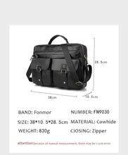 Load image into Gallery viewer, black leather briefcase dimentions measures
