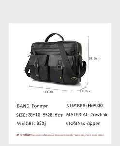 black leather briefcase dimentions measures
