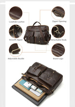 Load image into Gallery viewer, product description for a leather briefcase
