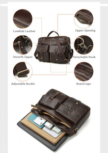 product description for a leather briefcase