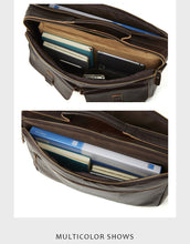 Load image into Gallery viewer, main pockets capacity of a leather briefcase showed