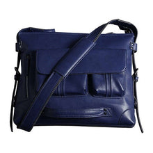 Load image into Gallery viewer, a blue leather shoulder bag