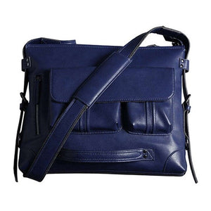 a blue leather shoulder bag