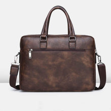 Load image into Gallery viewer, a retro leather briefcase with a handler and a shoulder strap