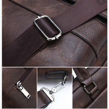 Load image into Gallery viewer, four photos of the closure systems of a retro leather briefcase