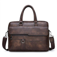 Load image into Gallery viewer, a retro leather briefcase in coffee color