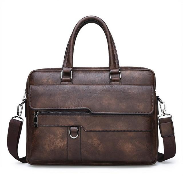 Retro Leather Briefcase Large Capacity For Men - Wortii