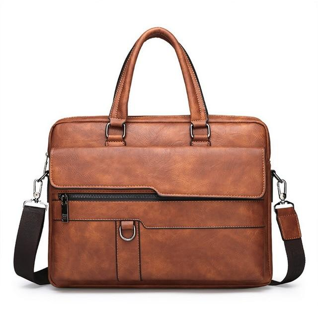 a retro leather briefcase in brown