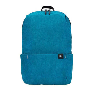 a small backpack in light blue