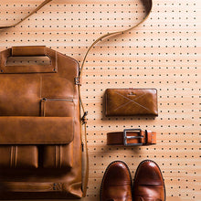Load image into Gallery viewer, leather backpack with a vintage style, a wallet, a belt and, a pair of shoes