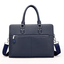 Load image into Gallery viewer, the backside of a blue navy leather briefcase