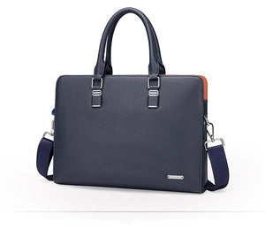 leather briefcase on a blue navy color with two handlers and a shoulder strap