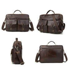 Load image into Gallery viewer, brown leather briefcase all angles pictures