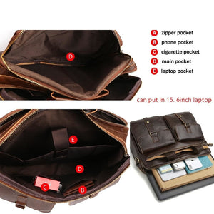interior pockets specifications of a leather briefcase