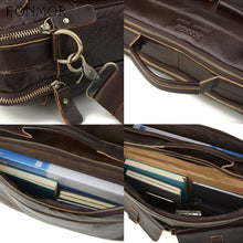 Load image into Gallery viewer, straps and handle materials of a leather briefcase