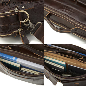 straps and handle materials of a leather briefcase