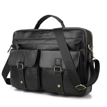 Load image into Gallery viewer, leather briefcase for laptop black with three main pockets