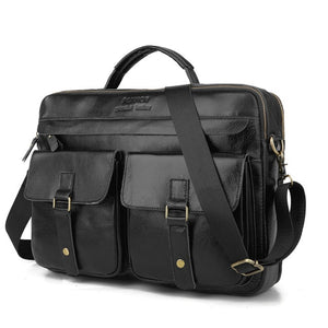 leather briefcase for laptop black with three main pockets