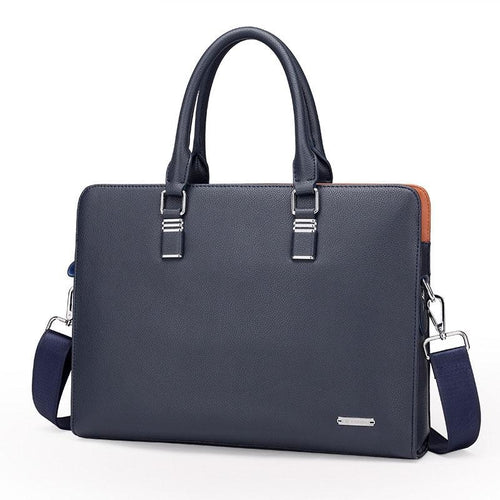 blue navy briefcase with two handlers