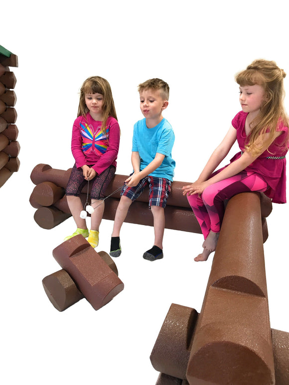 14 Piece Life-Size Foam Building Blocks Set | Big Logz® Campfire Bench Barricade - ToyBoxly